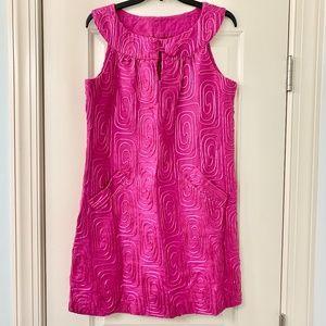 BB Dakota Fuchsia Pink Linen Embroidered Dress L